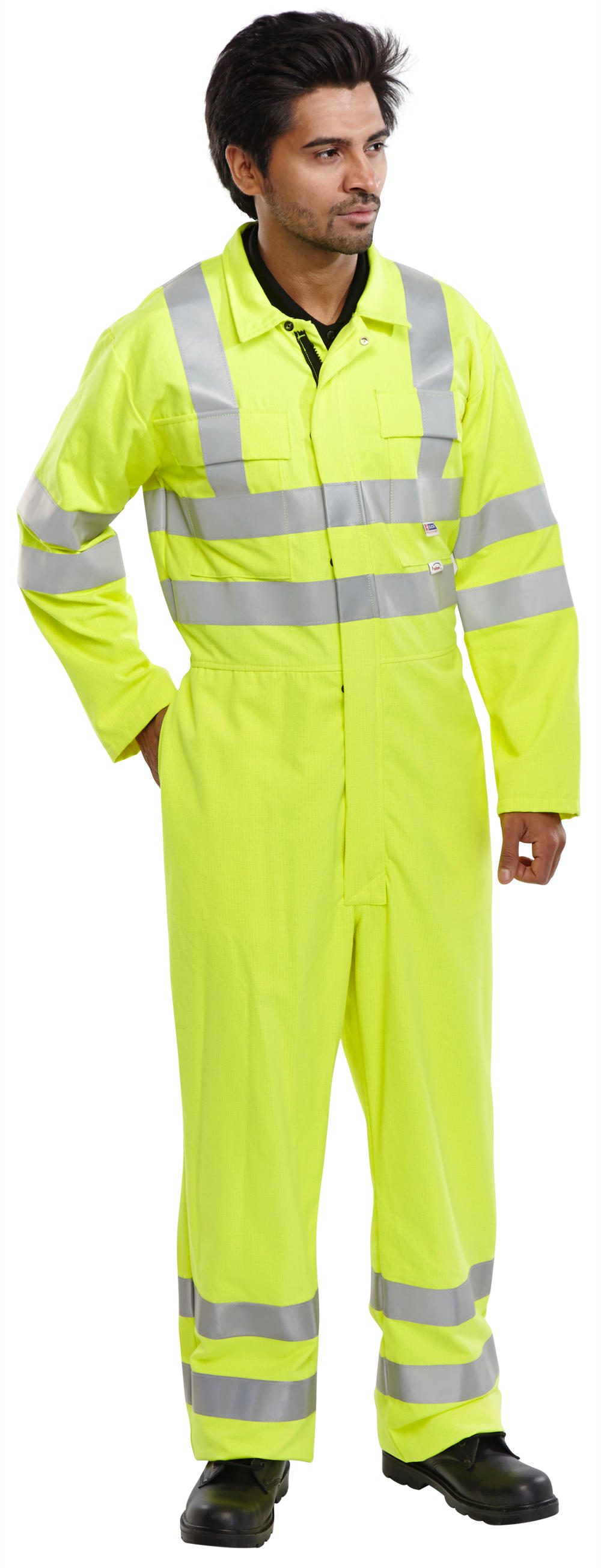 FIRE RETARDANT HI-VIS ANTI STATIC BOILERSUIT - CFRPHVASBS