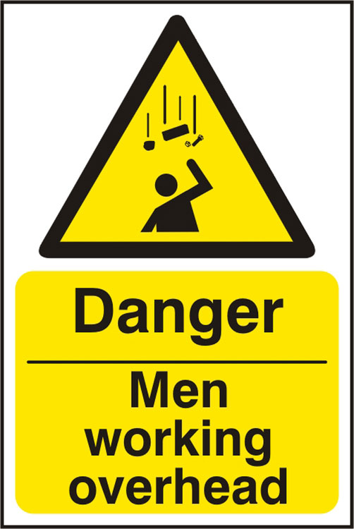 DANGER MEN WORKING OVERHEAD SIGN - BSS11113