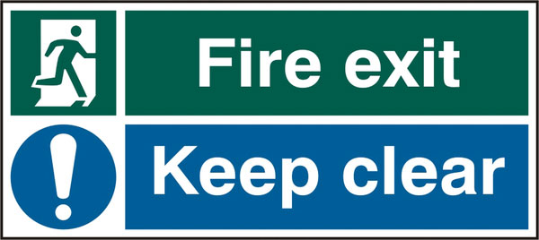 FIRE EXIT KEEP CLEAR SIGN - BSS12133