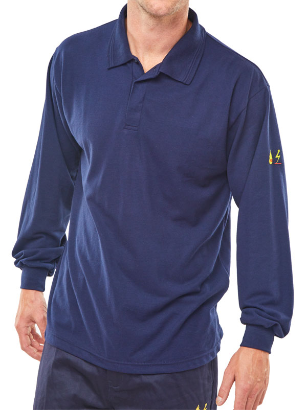 CLICK FLAME RETARDANT ANTI-STATIC LONG SLEEVE POLO - CFRPSLSASN