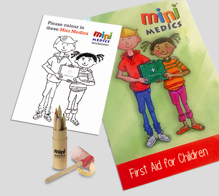 FIRST AID FOR CHILDREN PACK WITH COLOURED PENCILS - CM1323