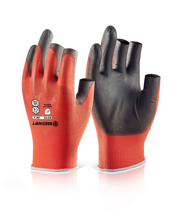 PU COATED 3 FINGERLESS GLOVE - BS044