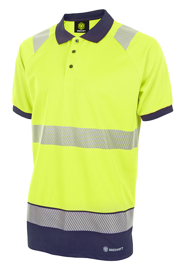 HIVIS TWO TONE POLO SHIRT SHORT SLEEVE - HVTT010SYN