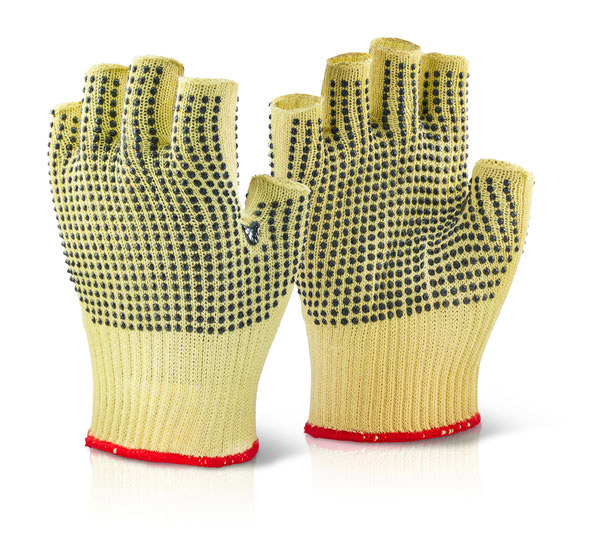 KEVLAR FINGERLESS DOTTED GLOVE - KFLGMWD