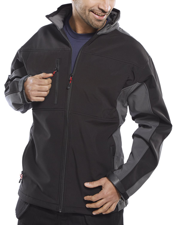 TWO TONE SOFT SHELL JACKET - SSJTTBLGY